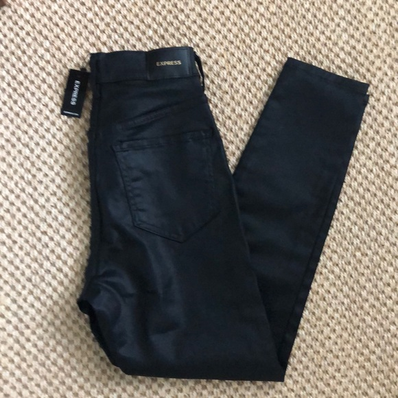 New Express Skinny Super High Rise Black Jeans